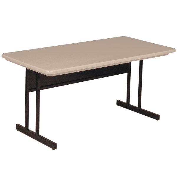 "Correll RCS3060-24 60"" x 30"" Rectangular Mocha Granite Finish Keyboard Height Blow-Molded Plastic Top Computer Table Main Image 1"