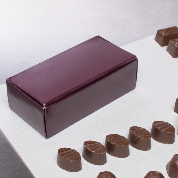 "5 1/2"" x 2 3/4"" x 1 3/4"" 1-Piece 1/2 lb. Burgundy Candy Box - 250/Case Main Image 5"