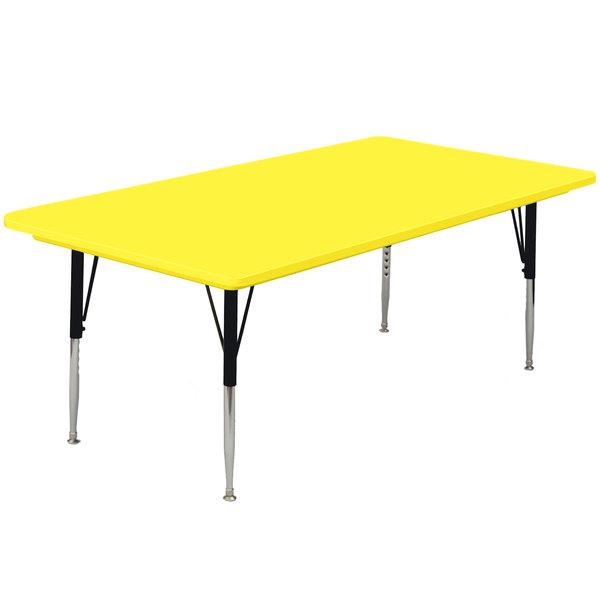 "Correll AR3072-RECS-28 72"" x 30"" Rectangular 16"" - 25"" Yellow Finish Adjustable Height Blow-Molded Activity Table Main Image 1"