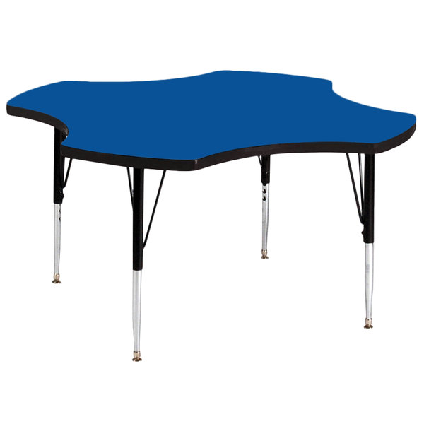 """Correll A48-CLOS-37 48"""" Clover 16"""" - 25"""" Blue Finish Adjustable Height High-Pressure Top Activity Table Main Image 1"""