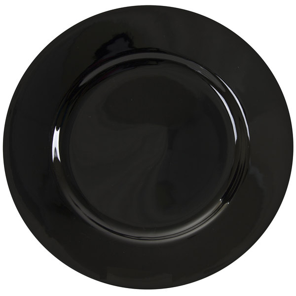 """10 Strawberry Street BRB0024 Black Rim 12 1/4"""" Round Porcelain Charger Plate"""