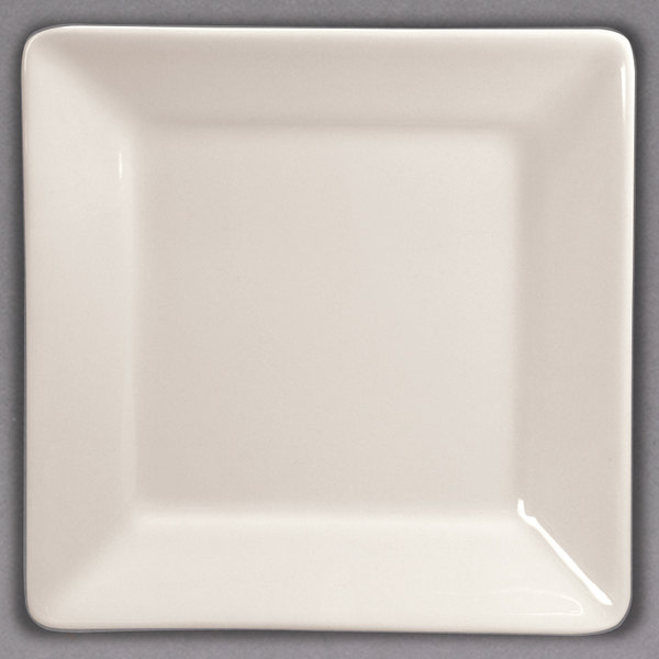 """Homer Laughlin 8200 Unique Times Square 4 1/2"""" Ivory (American White) Square China Plate - 36/Case"""