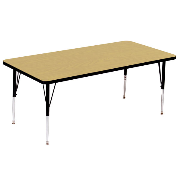 """Correll A3072-RECS-16 72"""" x 30"""" Rectangular 16"""" - 25"""" Adjustable Height High Pressure Fusion Maple Top Activity Table"""