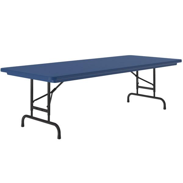 30 X 60 Folding Table.Correll Adjustable Height Folding Table 30 X 60 Plastic Blue Standard Legs R Series Ra3060