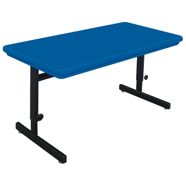 """Correll RCSA2448-27 48"""" x 24"""" Rectangular Blue Finish Adjustable Height Blow-Molded Plastic Top Computer Table Main Image 1"""