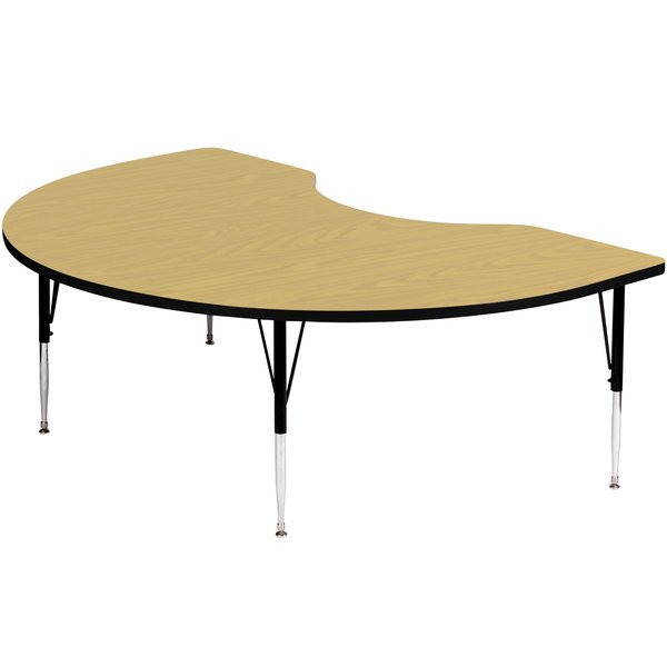 """Correll A4872-KIDS-16 72"""" x 48"""" Kidney 16"""" - 25"""" Fusion Maple Finish Adjustable Height High-Pressure Top Activity Table Main Image 1"""