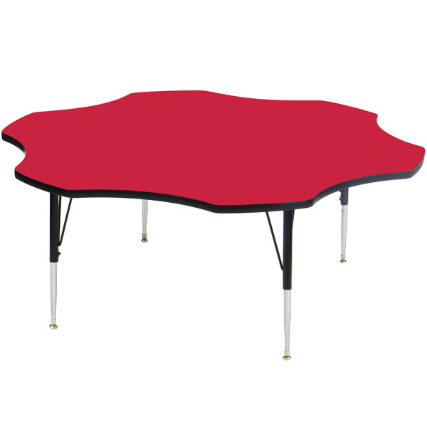 "Correll A60-FLRS-35 60"" Flower 16"" - 25"" Red Finish Adjustable Height High-Pressure Top Activity Table Main Image 1"