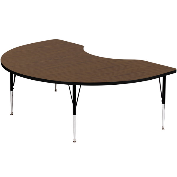 "Correll A4872-KID-01 72"" x 48"" Kidney 19"" - 29"" Walnut Finish Adjustable Height High-Pressure Top Activity Table"