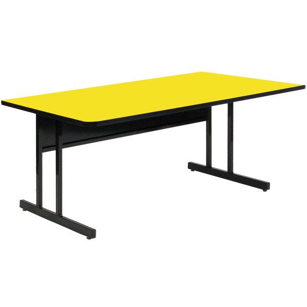 "Correll CS3060-38 60"" x 30"" Rectangular Yellow Finish Keyboard Height High Pressure Top Computer Table Main Image 1"