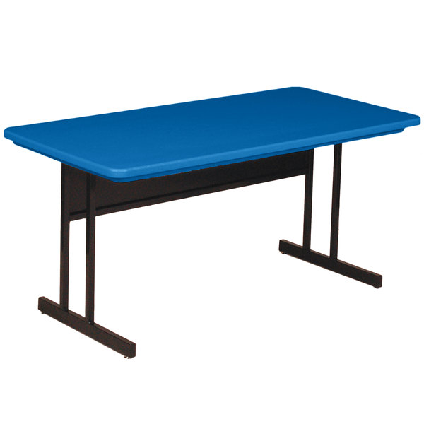 """Correll RCS3060-27 60"""" x 30"""" Rectangular Blue Finish Keyboard Height Blow-Molded Plastic Top Computer Table Main Image 1"""