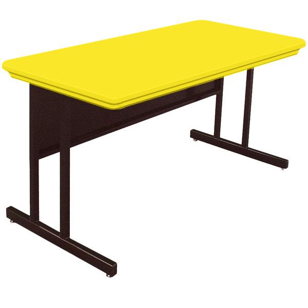 "Correll RWS2448-28 48"" x 24"" Rectangular Yellow Finish Blow-Molded Plastic Top Computer Table Main Image 1"