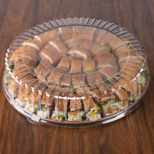 """Solut 5016 18"""" Clear Round High Dome Catering / Deli Tray Lid - 25/Case"""