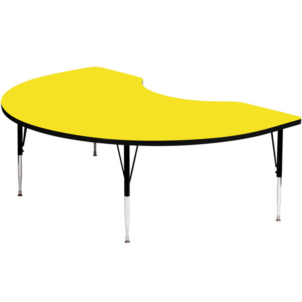 """Correll A4872-KIDS-38 72"""" x 48"""" Kidney 16"""" - 25"""" Yellow Finish Adjustable Height High-Pressure Top Activity Table Main Image 1"""
