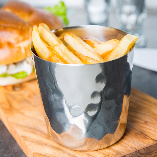 """American Metalcraft FFHM37 3 3/8"""" Hammered Stainless Steel French Fry Cup"""