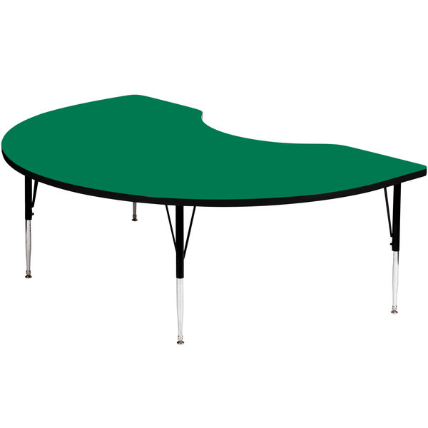 """Correll A4872-KID-39 72"""" x 48"""" Kidney 19"""" - 29"""" Green Finish Adjustable Height High-Pressure Top Activity Table"""