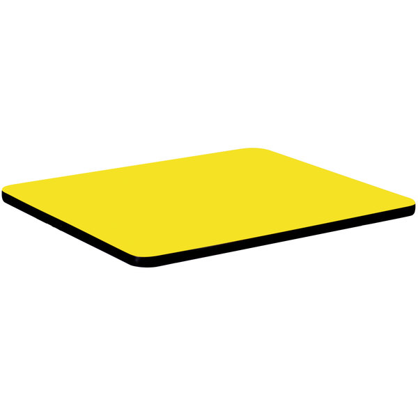 """Correll CT36S-38 36"""" Square Yellow Finish High Pressure Bar & Cafe Table Top Main Image 1"""