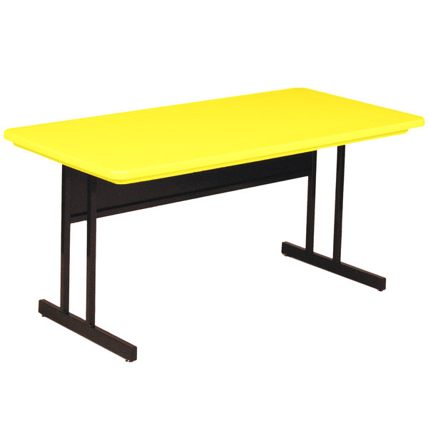 """Correll RCS3060-28 60"""" x 30"""" Rectangular Yellow Finish Keyboard Height Blow-Molded Plastic Top Computer Table Main Image 1"""