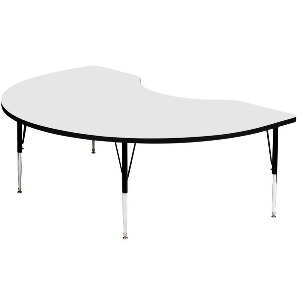 """Correll A4872-KID-36 72"""" x 48"""" Kidney 19"""" - 29"""" White Finish Adjustable Height High-Pressure Top Activity Table"""