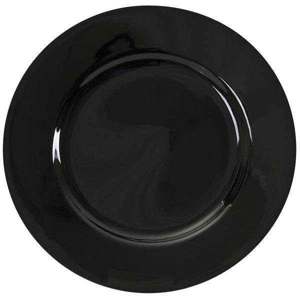 "10 Strawberry Street BRB0001 Black Rim 10 3/4"" Porcelain Dinner Plate - 24/Case Main Image 1"