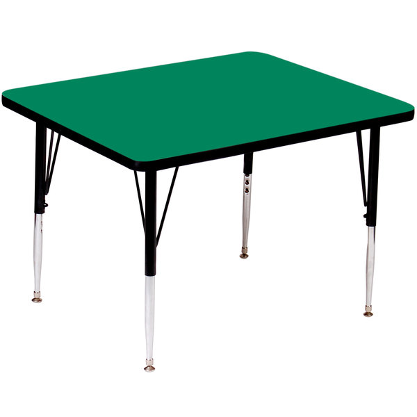 """Correll A4848-SQS-39 48"""" Square 16"""" - 25"""" Green Finish Adjustable Height High Pressure Top Activity Table Main Image 1"""