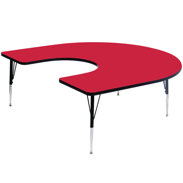 """Correll A6066-HORS-35 66"""" x 60"""" Horseshoe 16"""" - 25"""" Red Finish Adjustable Height High-Pressure Top Activity Table Main Image 1"""