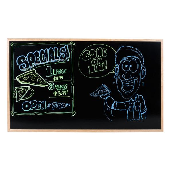 """Aarco BOC3660NT-B OAK 36"""" x 60"""" Oak Frame Black Marker Board Main Image 5"""