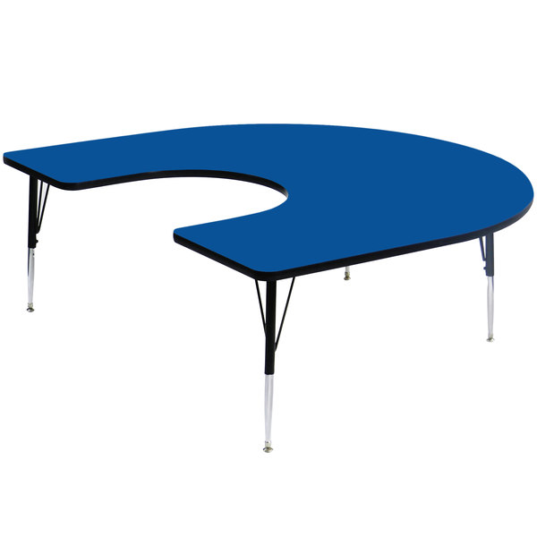 """Correll A6066-HORS-37 66"""" x 60"""" Horseshoe 16"""" - 25"""" Blue Finish Adjustable Height High-Pressure Top Activity Table Main Image 1"""