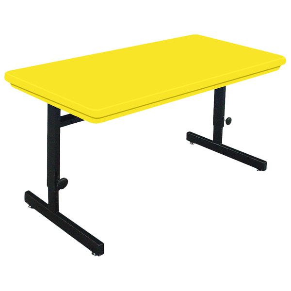 "Correll RCSA2448-28 48"" x 24"" Rectangular Yellow Finish Adjustable Height Blow-Molded Plastic Top Computer Table Main Image 1"