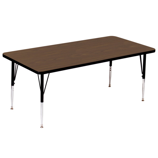 "Correll A3048-RECS-01 48"" x 30"" Rectangular 16"" - 25"" Adjustable Height High Pressure Walnut Top Activity Table Main Image 1"