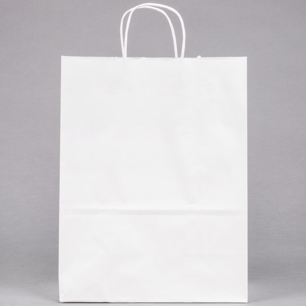 Small 10 X 5 13 White Paper Ping Bag With Handles 250 Bundle