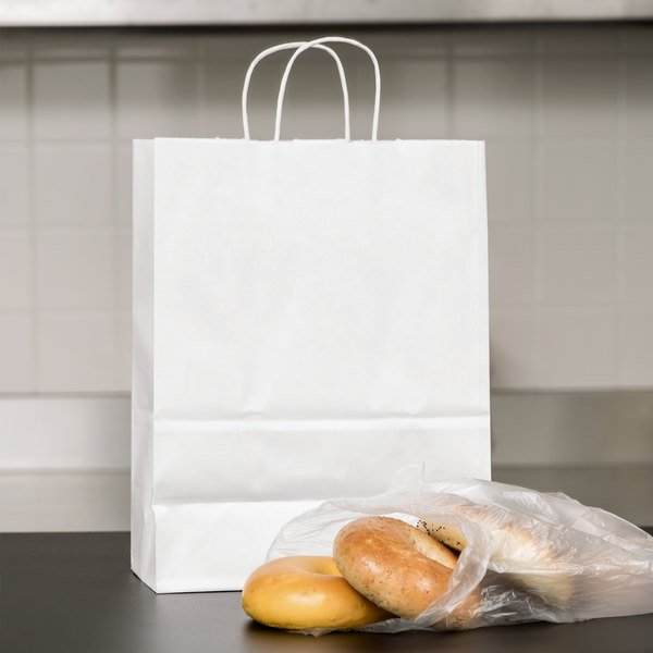 "Small 10"" x 5"" x 13"" White Paper Shopping Bag with Handles - 250/Bundle Main Image 3"