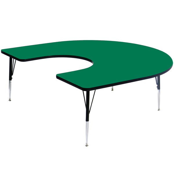 """Correll A6066-HOR-39 66"""" x 60"""" Horseshoe 19"""" - 29"""" Green Finish Adjustable Height High-Pressure Top Activity Table Main Image 1"""