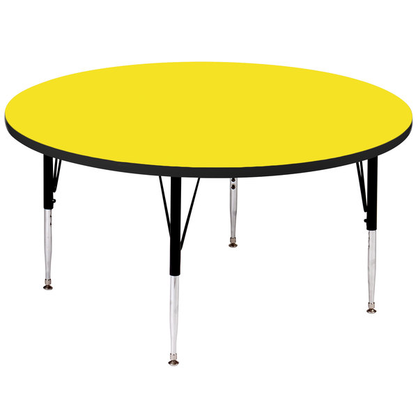 """Correll A48-RNDS-38 48"""" Round 16"""" - 25"""" Yellow Adjustable Height High-Pressure Top Activity Table Main Image 1"""
