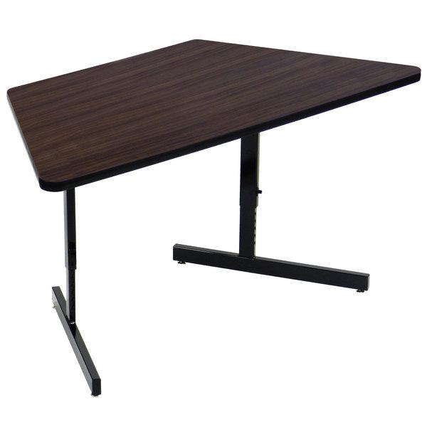 "Correll CSA3060TR-51 30"" x 60"" Trapezoid Premium Laminate 21"" - 29"" Williamsburg Walnut Adjustable Height High-Pressure Top Computer Table Main Image 1"