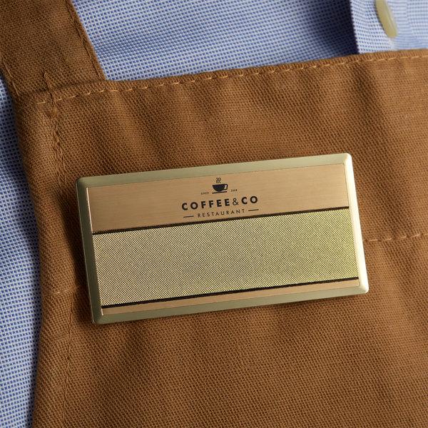 "Cawley 1 1/2"" x 3"" Customizable Gold Premium Metal Rectangle Nametag Main Image 3"