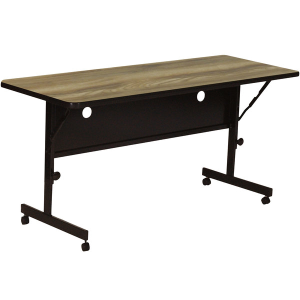 "Correll FT2448-53 24"" x 48"" Colonial Hickory Rectangular Premium Laminate High Pressure Deluxe Flip Top Table"