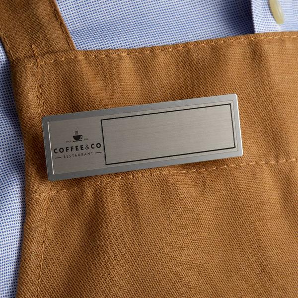 "Cawley 1"" x 3"" Customizable Silver Economy Metal Rectangle Nametag Main Image 3"
