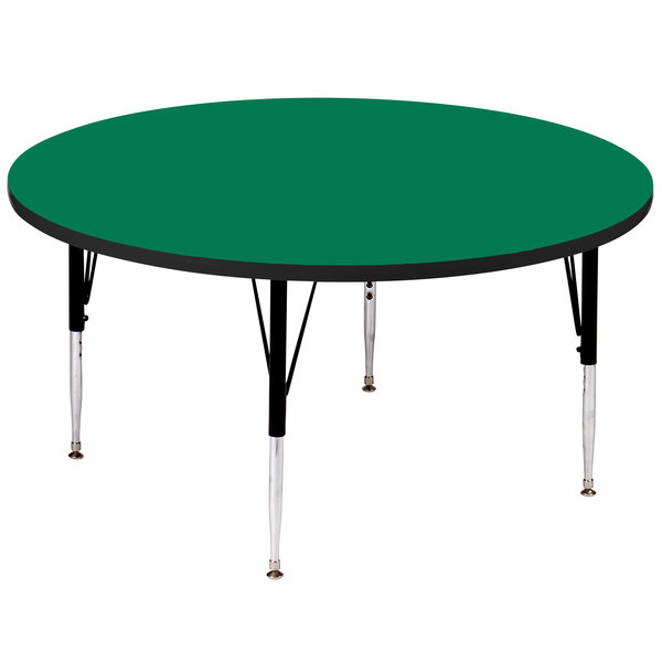 """Correll A60-RNDS-39 60"""" Round 16"""" - 25"""" Green Adjustable Height High-Pressure Top Activity Table Main Image 1"""