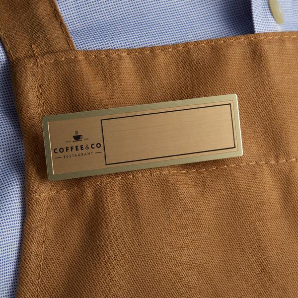 "Cawley 1"" x 3"" Customizable Gold Economy Metal Rectangle Nametag Main Image 3"