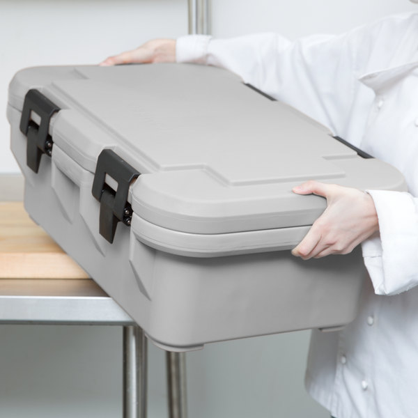 """Cambro UPCS160480 Camcarrier S-Series® Speckled Gray Top Loading 6"""" Deep Insulated Food Pan Carrier Main Image 3"""