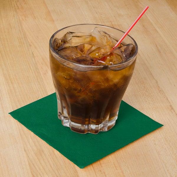 Hoffmaster 180337 Hunter Green Beverage / Cocktail Napkin - 1000/Case