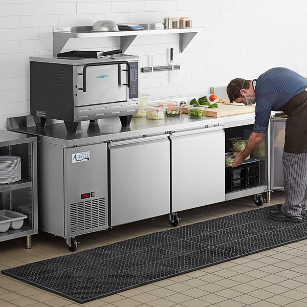 "Avantco SS-WD-3R 93"" Stainless Steel Extra Deep Worktop Refrigerator with 3 1/2"" Backsplash Main Image 7"