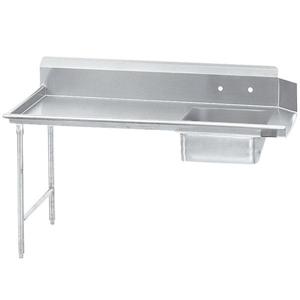 Left Table Advance Tabco DTS-S70-96 8' Standard Stainless Steel Soil Straight Dishtable