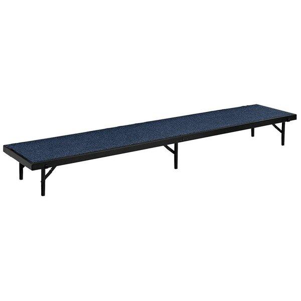 "National Public Seating RS32C Blue Carpet Straight Portable Riser - 18"" x 96"" x 32"" Main Image 1"