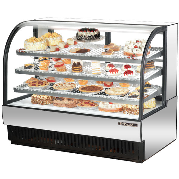 True TCGR-59 59 inch Stainless Steel Curved Glass Refrigerated Bakery Display Case - 32.5 Cu. Ft.