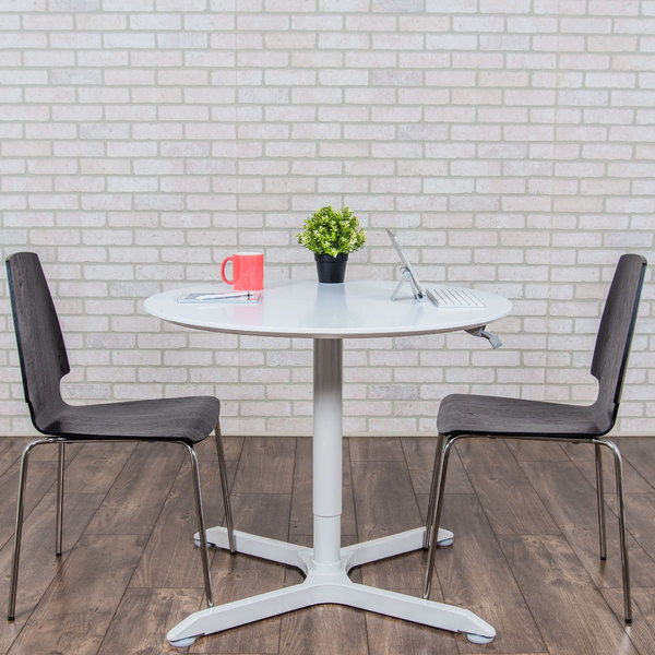 """Luxor LX-PNADJ-36RD 36"""" Round Pneumatic Adjustable Height Cafe Table Main Image 3"""
