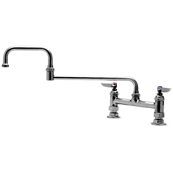 """T&S B-0246 15"""" Double Jointed Deck Mounted Mixing Faucet with 8"""" Centers"""
