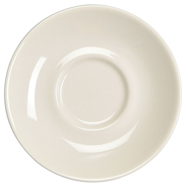 "Homer Laughlin 28400 Empire 5 1/2"" Ivory (American White) Kent China Saucer - 36/Case"