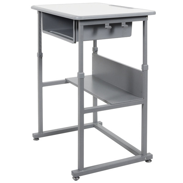 """Luxor STUDENT-M 27 1/2"""" x 19 1/2"""" Medium Gray Adjustable Height Student Standing Desk with Gray Steel Frame Main Image 1"""