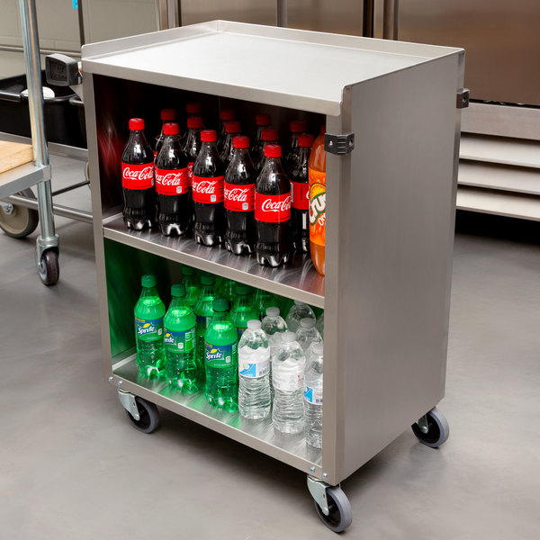 "Lakeside 610 Stainless Steel Three Shelf Enclosed Utility Cart - 27 3/4"" x 16 1/2"" x 32 3/4"" Main Image 4"